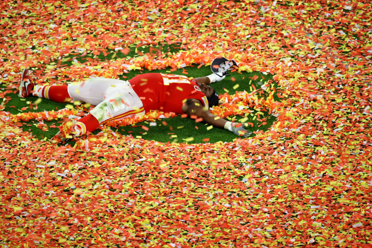 Image: Derrick Nnadi of the Kansas City Chiefs celebrates after winning the Super Bowl in Miami on Feb. 2, 2020.
