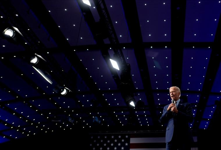 Image: Joe Biden speaks at a forum in Des Moines, Iowa, on Aug. 10, 2019.