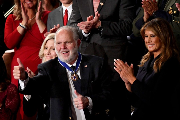 Image: Rush Limbaugh celebrates after he was awarded the Medal of Freedom by first lady Melania Trump at the State of the Union on Feb. 4, 2020.