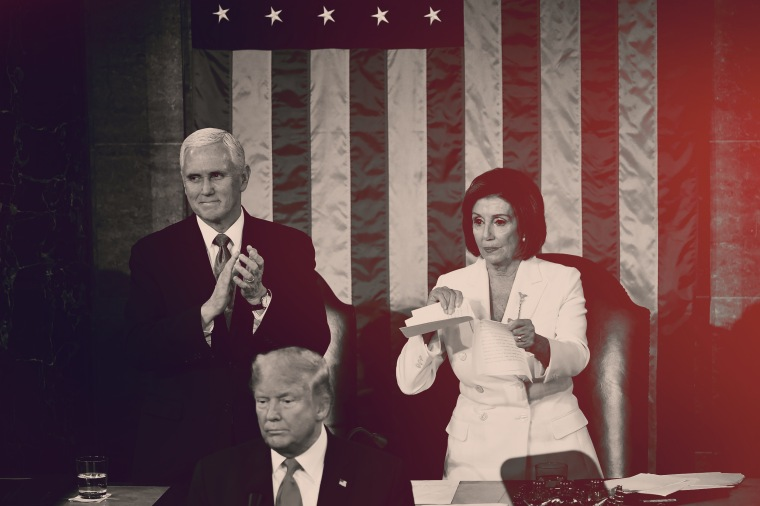 Image: House Speaker Nancy Pelosi rips a copy of President Donald Trump's State of the Union address at the Capitol on Feb. 4, 2020.