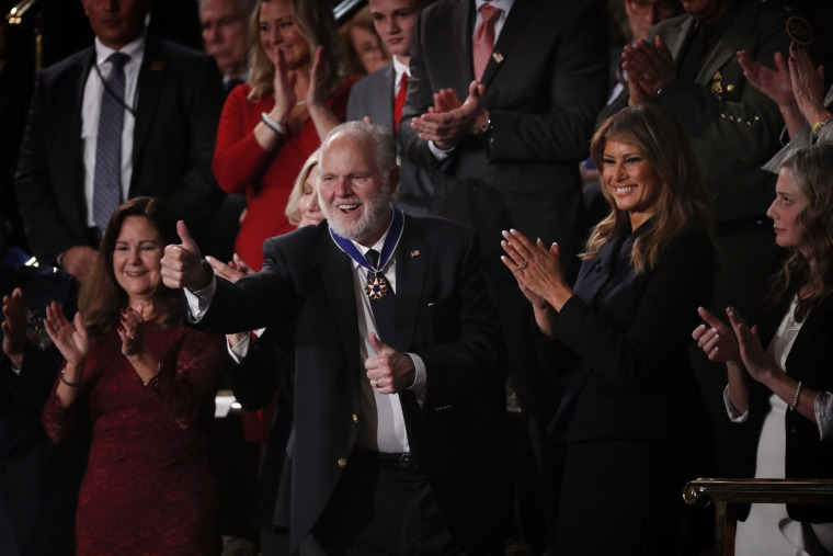 Image: Radio host Rush Limbaugh reacts after receiving the Presidential Medal of Freedom during the State of the Union address on Feb. 4, 2020.