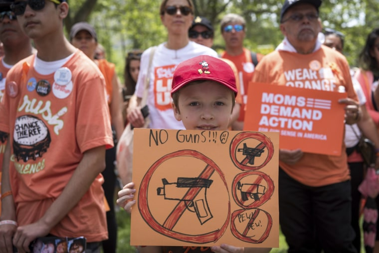 Moms Demand Action holds a rally in Brooklyn for stricter gun laws on June 8, 2019, a week after a shooter in Virginia Beach, Va., killed 12 people.