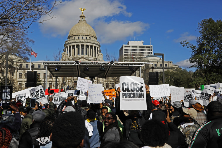 Image: Prisoner reform advocates protest over conditions in the Mississippi prison system at the Capitol in Jackson on Jan. 24, 2020.