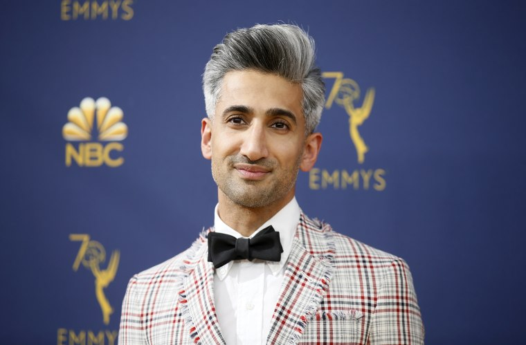 Image: Tan France arrives for the Emmy Awards in Los Angeles on Sept. 17, 2018.