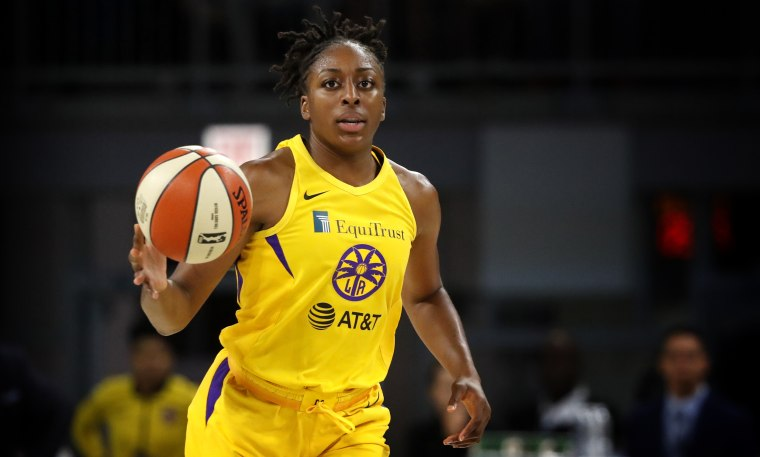 Image: Los Angeles Sparks player Nneka Ogwumike dribbles the ball during a game against the Chicago Sky on Aug. 16, 2019.
