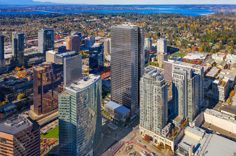 A render of the new office tower developed by Amazon in Bellevue, designed by Seattle-based architects NBBJ.