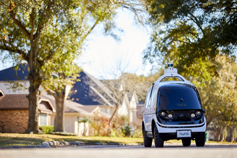 Image: Nuro R2, a self-driving delivery vehicle, is shown in an undated photo in Houston