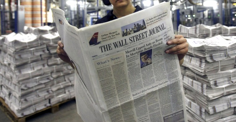 The Wall Street Journal at a printing press in London on April 16, 2008.