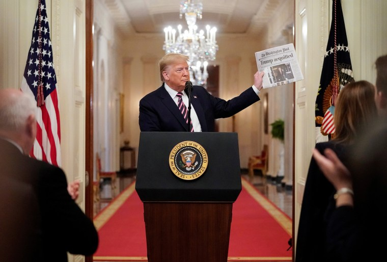 Image: U.S. President Trump delivers a statement about his acquittal at the White House in Washington