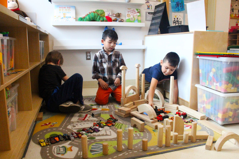"Students in Sara Stevens' kindergarten class have at least 40 minutes a day for what's called ""Play to Learn"" time."
