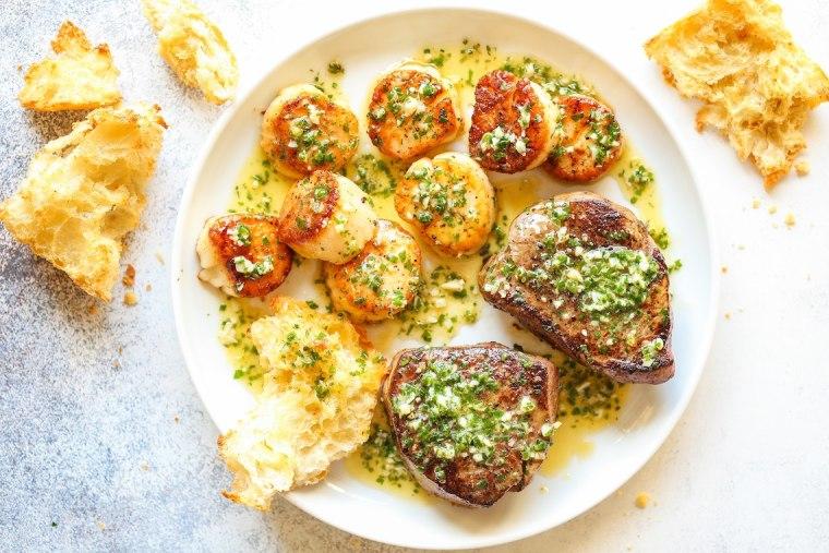 Garlic Butter Steak and Scallops