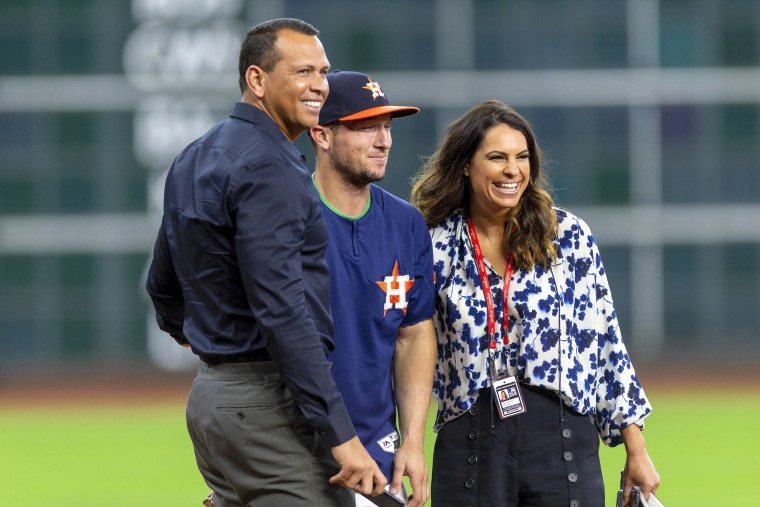 Alex Rodriquez, Astros third baseman Alex Bregman and ESPN commentator Jessica Mendoza before a game  at Minute Maid Park in Houston in 2018.