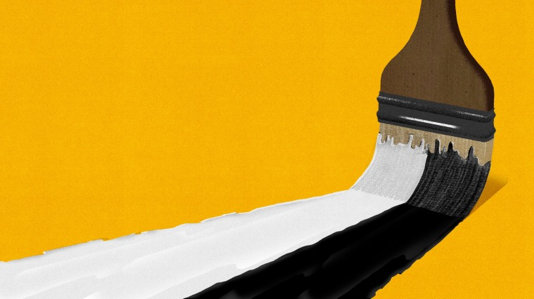 Illustration of a paintbrush painting a black and white stroke.