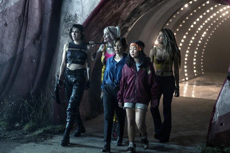 "Mary Elizabeth Winstead as Huntress, Margot Robbie as Harley Quinn, Rosie Perez as Renee Montoy, Ella Jay Basco as Cassandra Cain and Jurnee Smollett-Bell as Black Canary in ""Birds of Prey."""