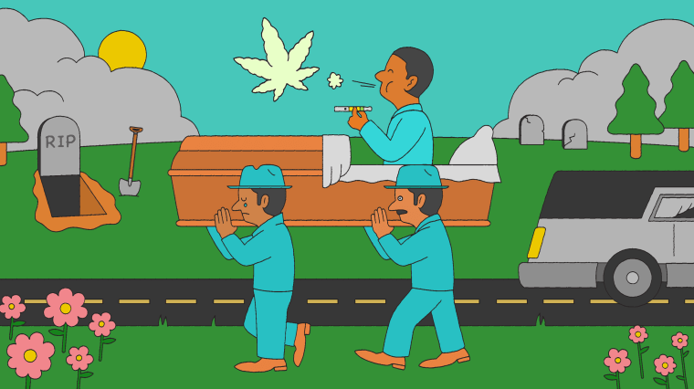 Illustration of man vaping weed in his own casket.
