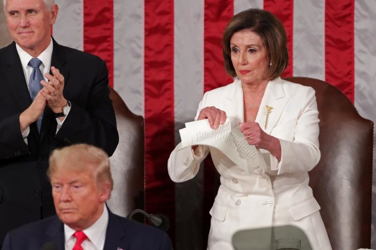 Image: Speaker of the House Nancy Pelosi (D-CA) rips up the speech of U.S. President Donald Trump in Washington