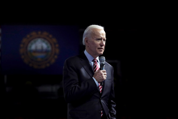 Image: Joe Biden speaks during a dinner in Manchester, N.H, on Feb. 8, 2020.