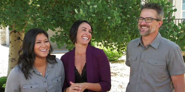 """Angelica, Lori and Brian, a """"throuple"""" looking for a new home on HGTV's """"House Hunters."""""""