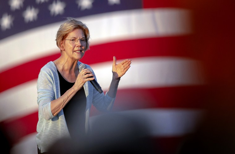 Image: Sen. Elizabeth Warren, D-Mass., speaks at a campaign rally in Austin on Sept. 10, 2019.