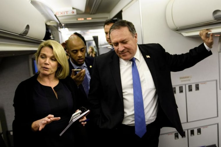 Image: Spokesperson Heather Nauert while US Secretary of State Mike Pompeo dialogues with reporters in his plane while flying from Panama to Mexico