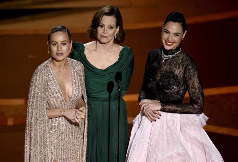 Image: Brie Larson, Sigourney Weaver and Gal Gadot speak at the 92nd Annual Academy Awards on Feb. 9, 2020.