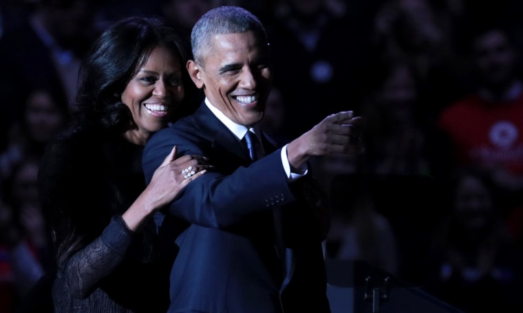 Image: President Barack Obama and first lady Michelle Obama during his farewell address in Chicago on Jan. 10, 2017.
