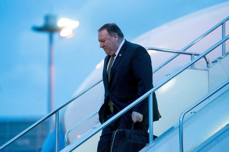 Image: U.S. Secretary of State Mike Pompeo arrives at Haneda Airport, in Tokyo