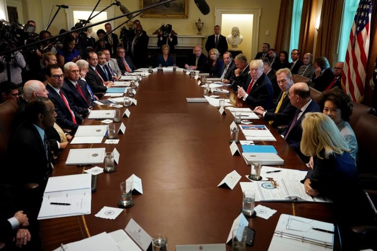 Image: U.S. President Trump holds a cabinet meeting at the White House in Washington