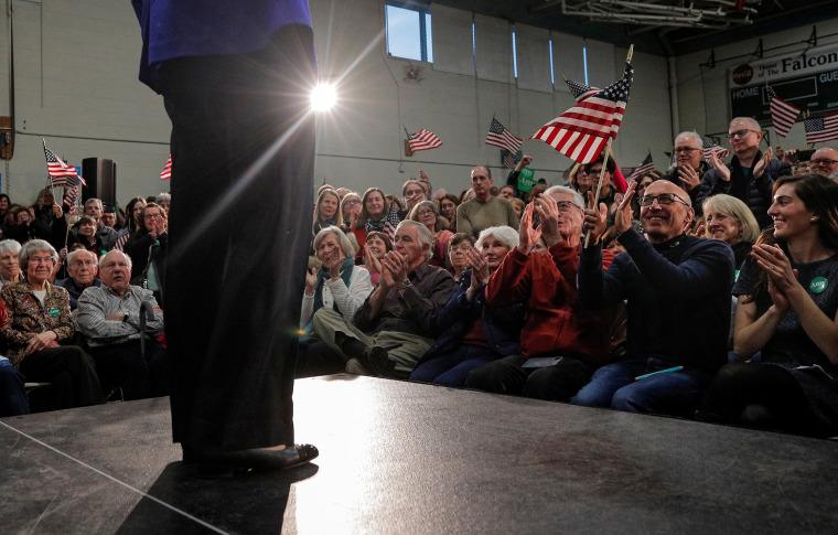 Sen. Amy Klobuchar speaks in Salem, N.H., on Feb. 9, 2020.
