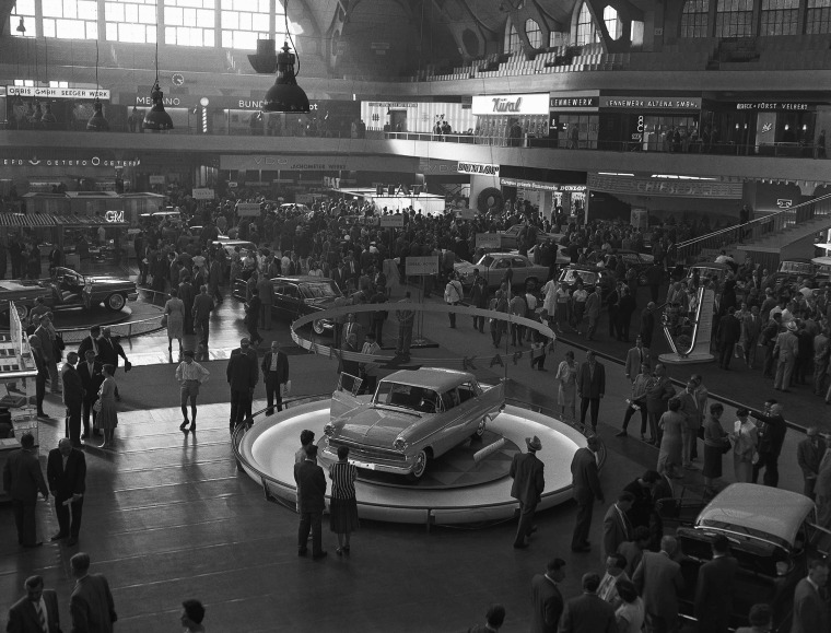 One of the halls at Frankfurt's international automobile show in September 1959