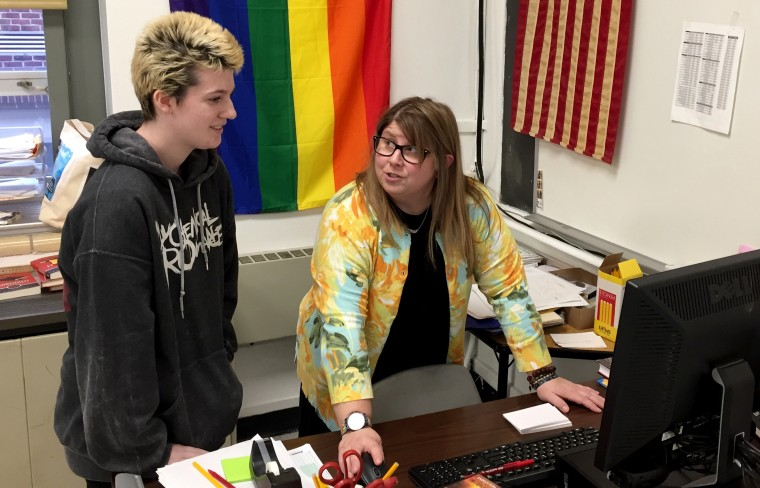 Image: Lola Rossi, a student at Haddon Heights High School in N.J., with the school's Gay Straight Alliance club supervisor, Anna Sepanic, on Feb. 5, 2020.