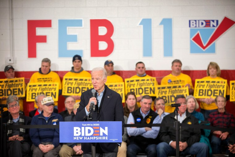 Image: Joe Biden speaks at a campaign event in Nashua, N.H., on Feb. 4, 2020.