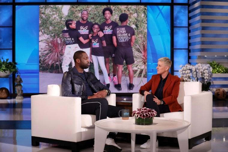Dwyane Wade talks with host Ellen DeGeneres.