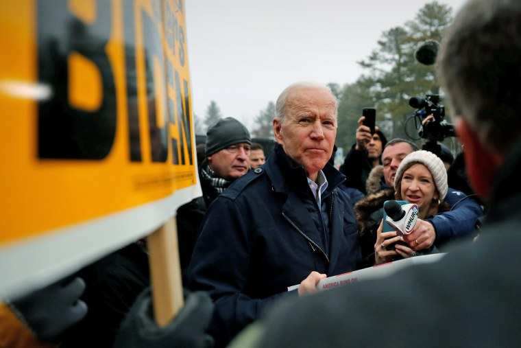 Image: Democratic 2020 U.S. presidential candidate and former Vice President Joe Biden visits a polling station on the day of New Hampshire's first-in-the-nation primary in Manchester, New Hampshire U.S.