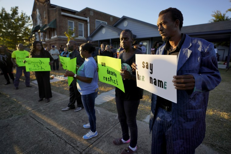 Image: Protesters gather outside the home where Atatiana Jefferson was fatally shot by police in Fort Worth, Texas, on Oct. 13, 2019.