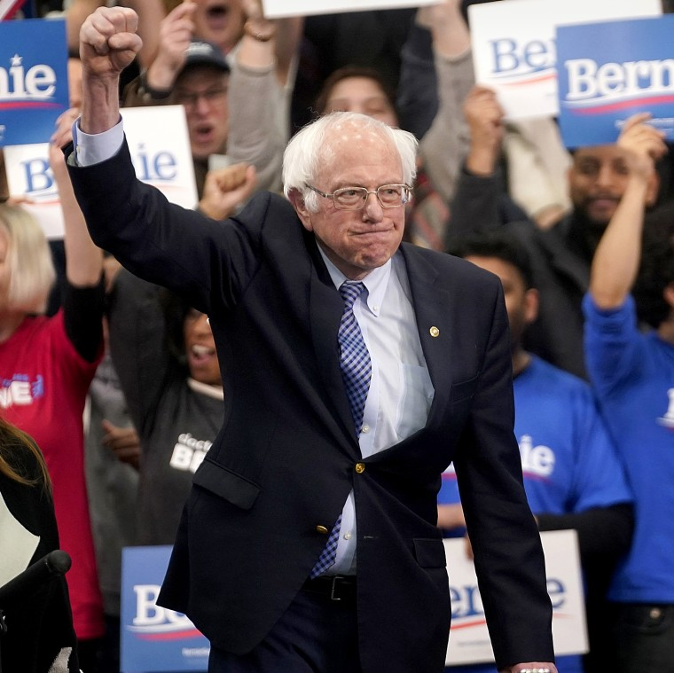 Image: Democratic U.S. presidential candidate Senator Bernie Sanders arrives at his New Hampshire primary night rally in Manchester, N.H., U.S.