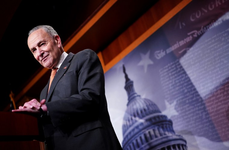 Image: Senate Minority Leader Chuck Schumer speaks at a press conference at the Capitol on Feb. 11, 2020.