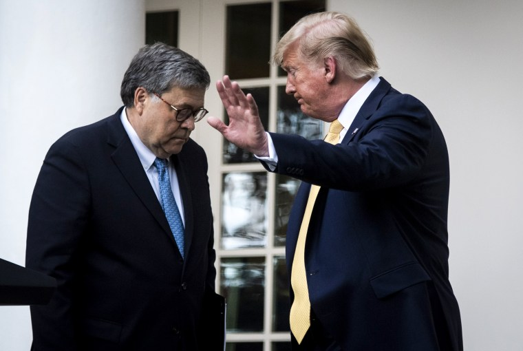 Image: President Donald Trump and Attorney General William Barr leave the Rose Garden on July 11, 2019.