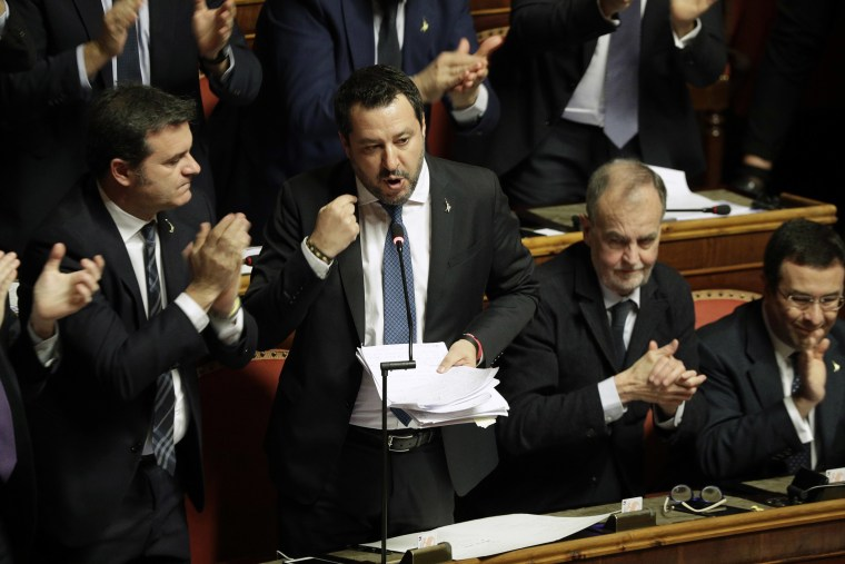 Image: Opposition populist leader Matteo Salvini speaks at the end of the debate at the Italian Senate.