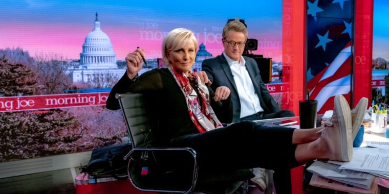 "Mika Brzezinski and Joe Scarborough on the set of ""Morning Joe""."