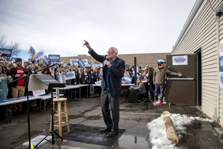 Image: Sen. Bernie Sanders, I-Vt., arrives at a campaign stop in Cedar Rapids, Iowa, on Feb. 2, 2020.
