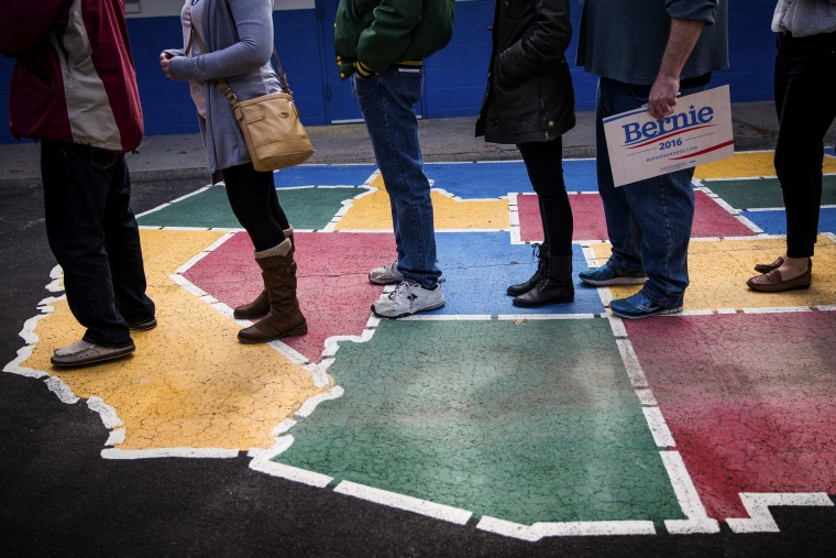Image: Caucus-goers line up to be counted at Booth Elementary School in Reno, Nev., on Feb. 20, 2016.
