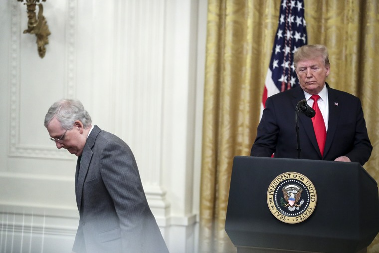 Senate Majority Leader Mitch McConnell, R-Ky., and President Donald Trump during an event on judicial confirmations in the East Room of the White House on Nov. 6, 2019.