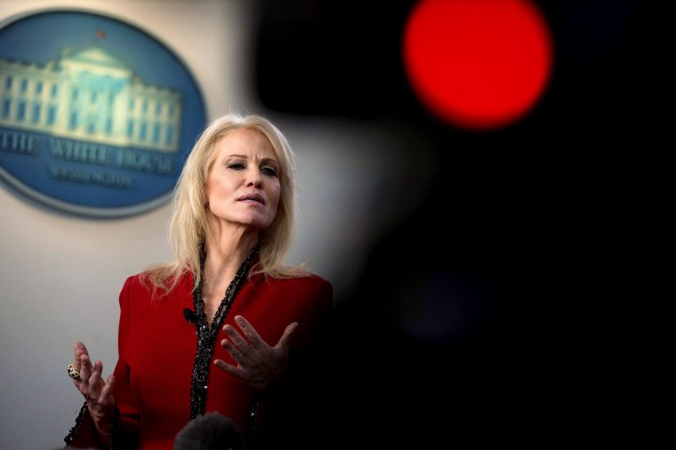 Image: White House senior counselor Kellyanne Conway speaks to the media in the briefing room on Jan. 10, 2020.
