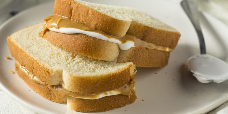 Homemade Fluffernutter Marshmallow Peanut Butter Sandwich