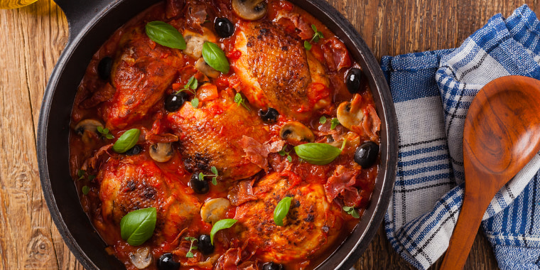 Traditionally made chicken in tomato sauce cacciatore. Top view. Flat lay.; Shutterstock ID 1175095783; Purchase Order: -; Segment/Job: -;