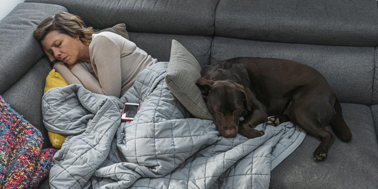 Woman asleep on sofa with pet dog