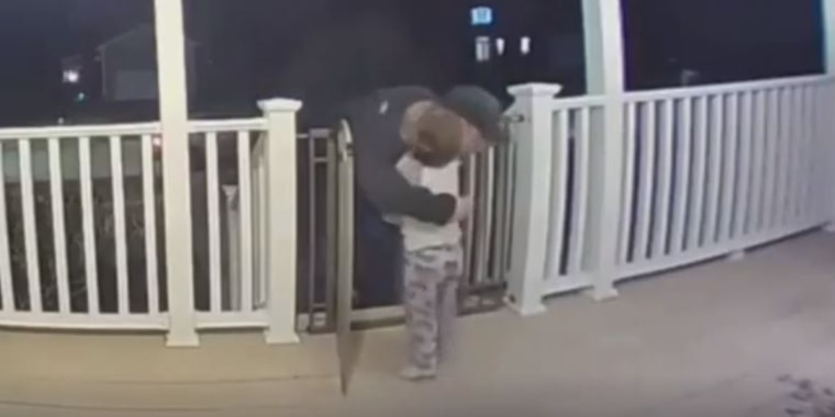 A sweet moment between a 2-year-old boy and a deliveryman was captured on a home security system camera during a recent pizza drop-off.