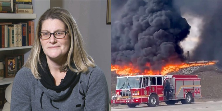 Holly McNally, who was on the way home from visiting her 3-day-old son helped rescue a truck driver from a massive tanker fire.