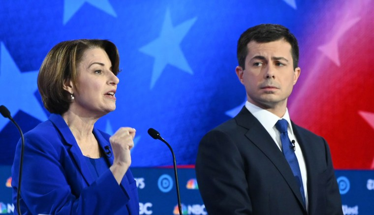 Image: Minnesota Senator Amy Klobuchar and Mayor of South Bend, Indiana, Pete Buttigieg participate in the fifth Democratic primary debate of the 2020 presidential campaign season.
